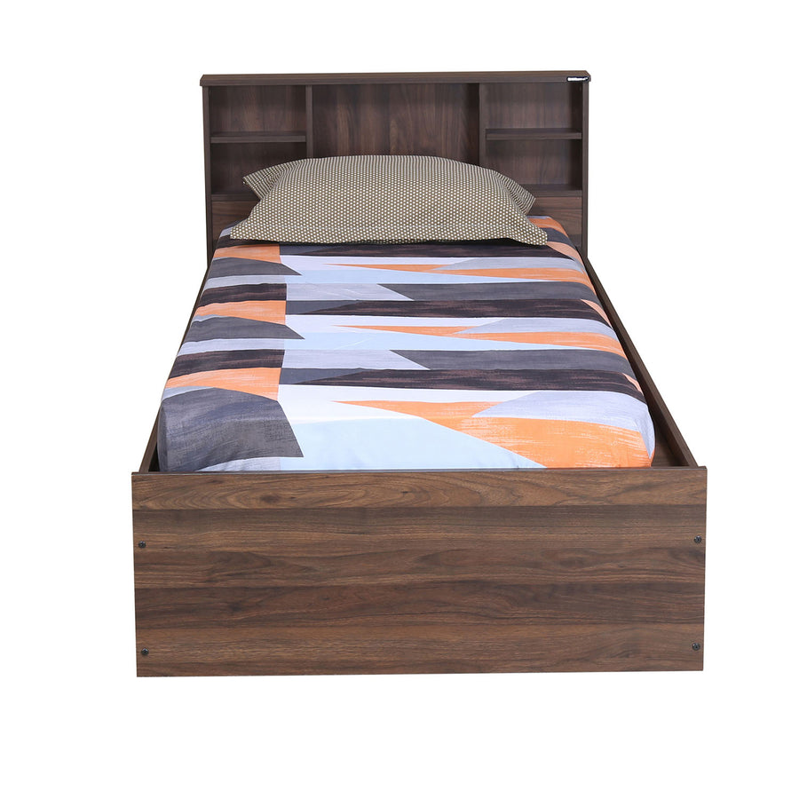 Terence Single Bed with Box Storage (Walnut)