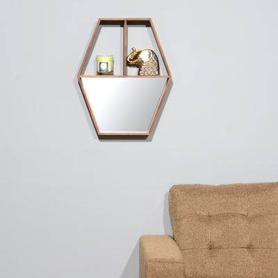 Toshi Wall Shelf With Mirror (Walnut)