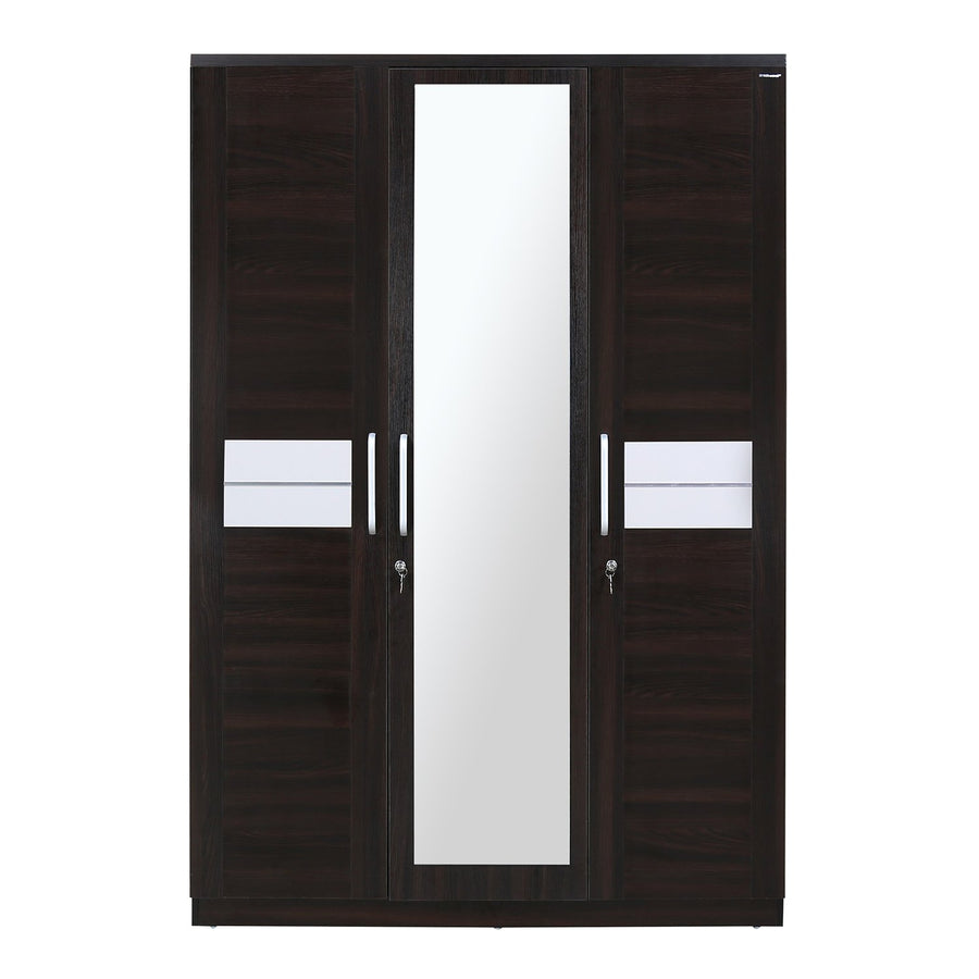 Toya 3 Door Wardrobe With Mirror (Oak & Walnut)