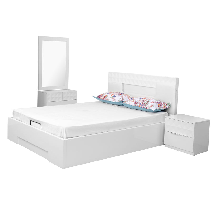 Theia King Bedroom Set With Night Stand And Dresser (White)