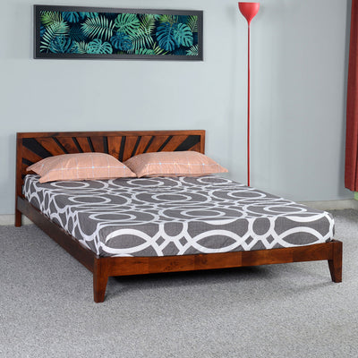 Upminister Queen Bed without Storage (Brown)