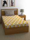 """83"" Black Shots Single Bedsheet with 1 Pillow Cover (Mustard)"