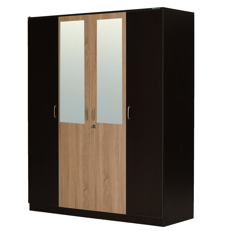Willy 4 Door Mirror Wardrobe (Wenge/Oak)