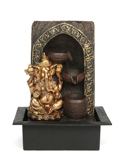 Ganesh Divine Pot Water Fountain (Gold)