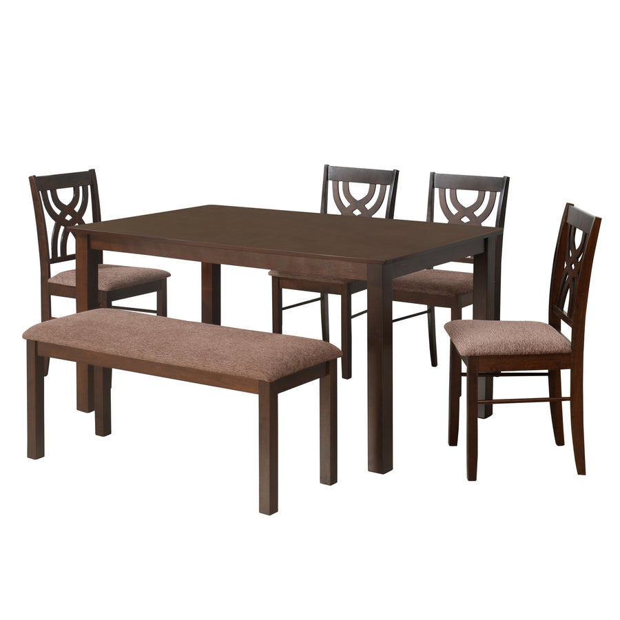 Alice 1 + 4+ Bench Dining Set (Brown)