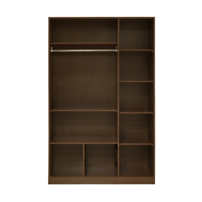 Ambra Three Door High Gloss Wardrobe With Mirror (Cappucino)