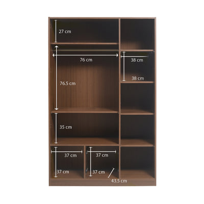 Anne Three Door High Gloss Wardrobe With Mirror (Brown)