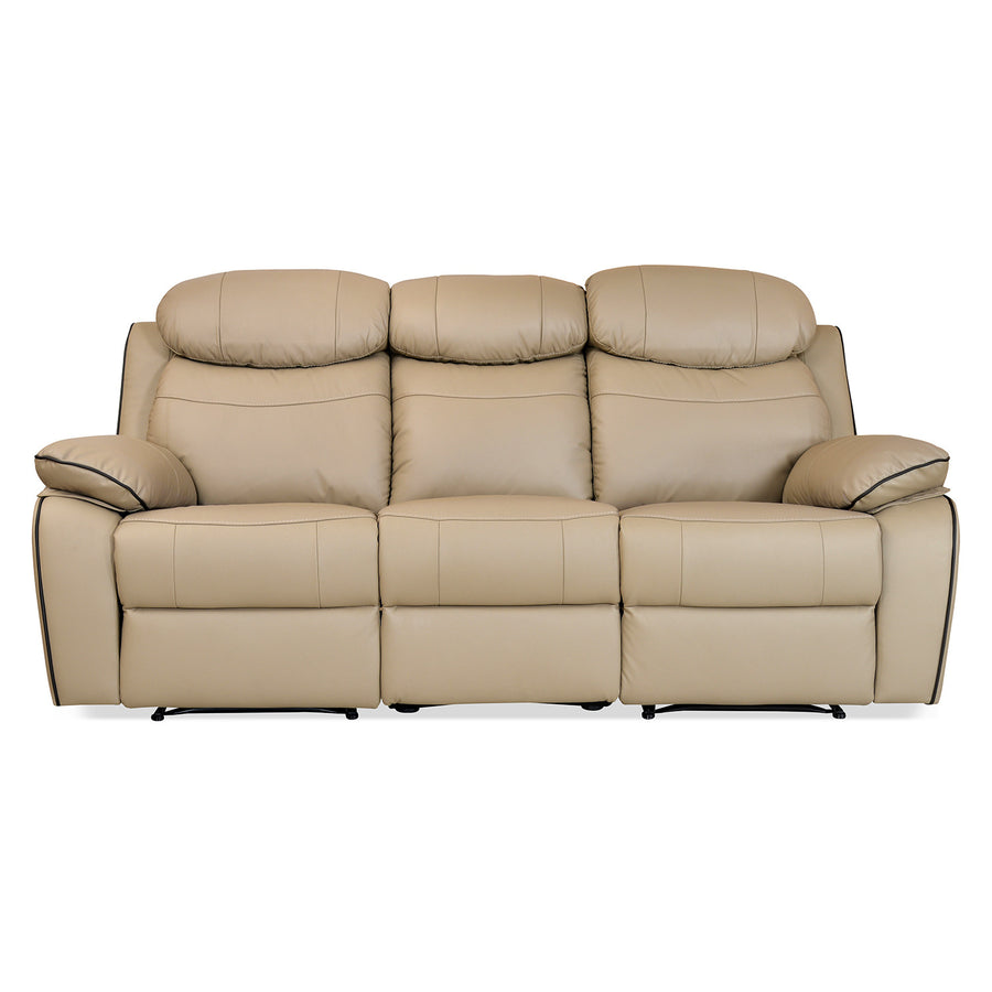 Barbados 3 Seater Sofa with 2 Manual Recliners (Sand Beige)