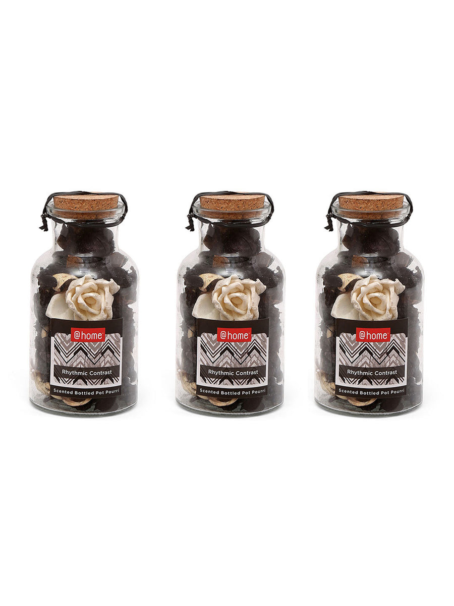 Glass Bottle Potpourrie 3 Pieces (Black & White)