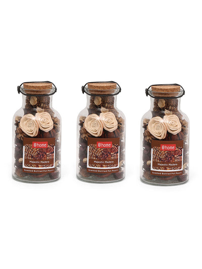 Glass Bottle 3 Pieces Potpourries (Brown)