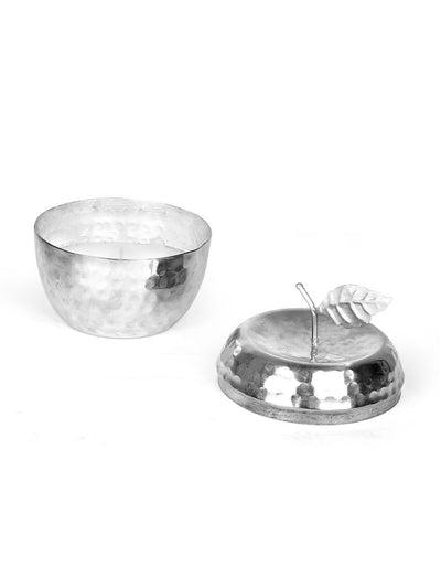 Enchanted Metal Apple Jar Candle Set with Lid (Silver)