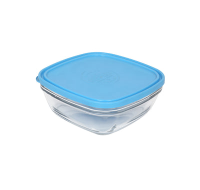 Duralex Square Glass 200 Ml Bowl With Blue Lid (Clear)