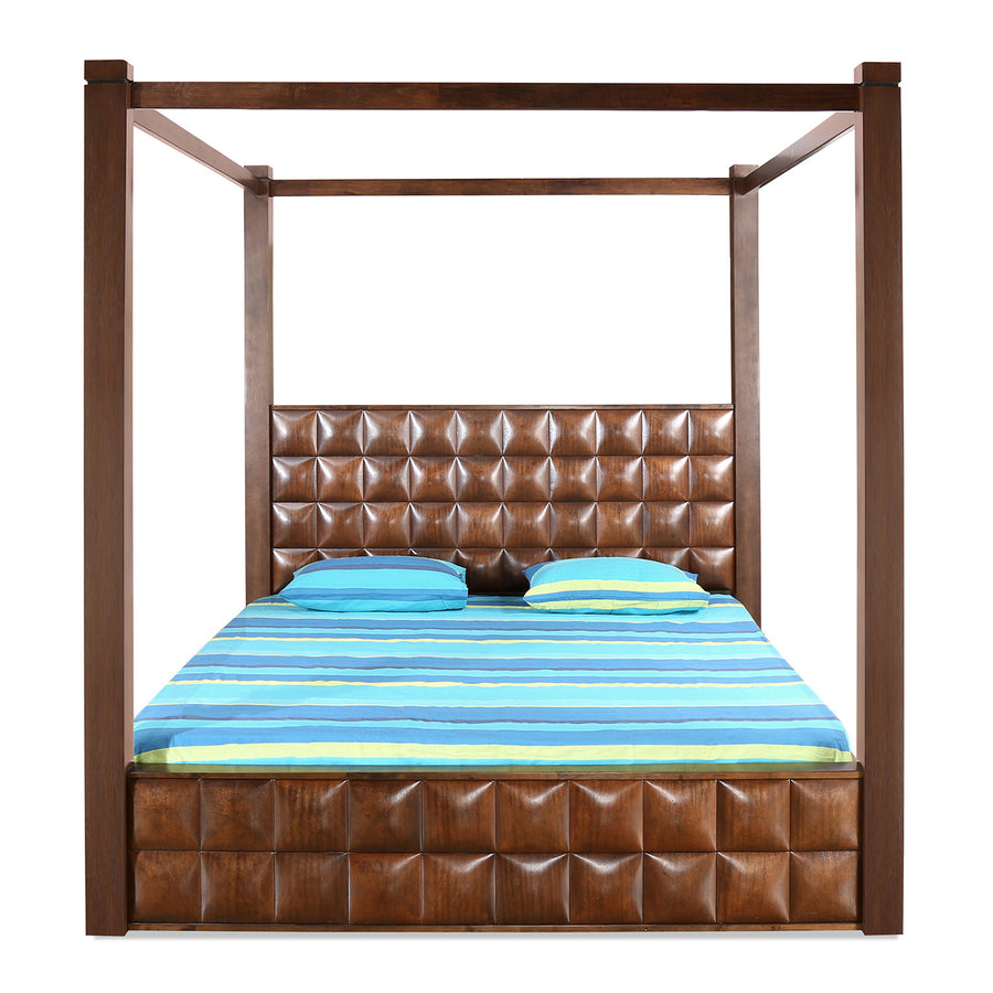 David Poster King Bed with Storage (Dark Walnut)