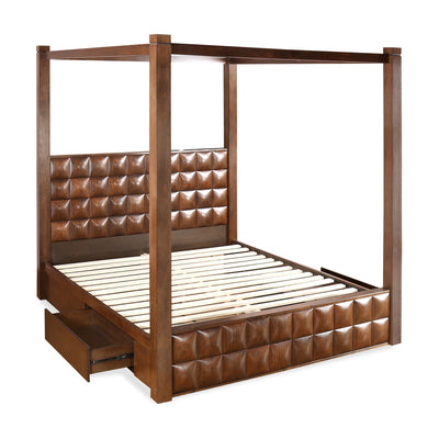 David Queen Bed With Storage (Dark Walnut)