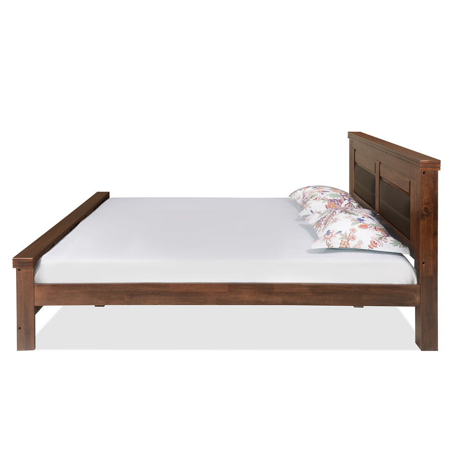 Dexter Queen Bed Without Storage (Cappucino) - Binary