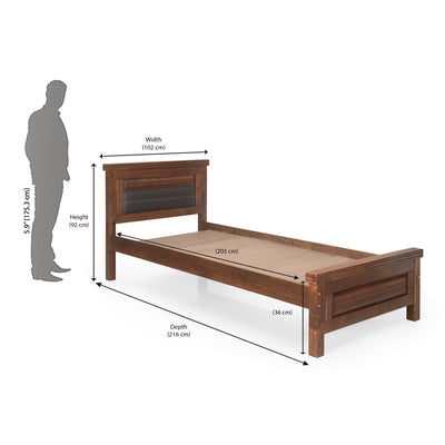 Dexter Single Bed Without Storage (Cappucino)