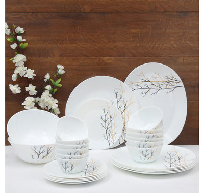 Laopala Diva Golden Fall 27 Pieces Dinner Set (Ivory)