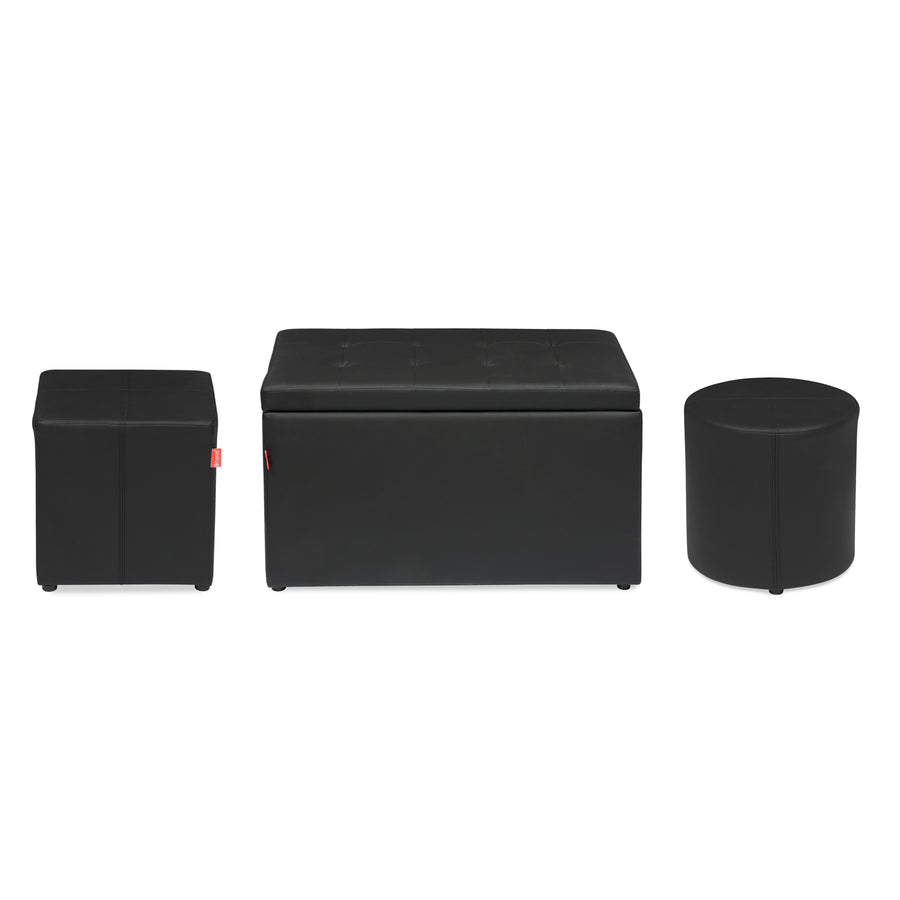 Eron Ottoman Set of 3 (Black)