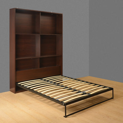 William Queen Bed With Headboard Storage (Dark Walnut)