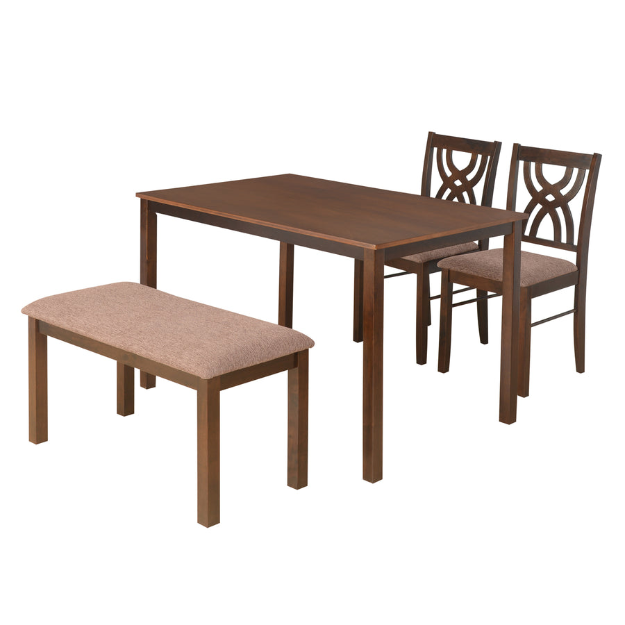 Alice Four Seater Dining Set With Bench (Antique Cherry)