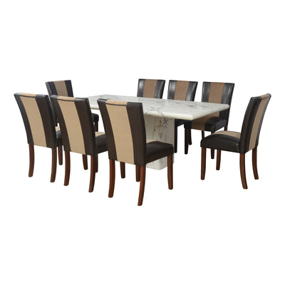 Desire  Jenn Eight Seater Dining Set (White And Walnut)