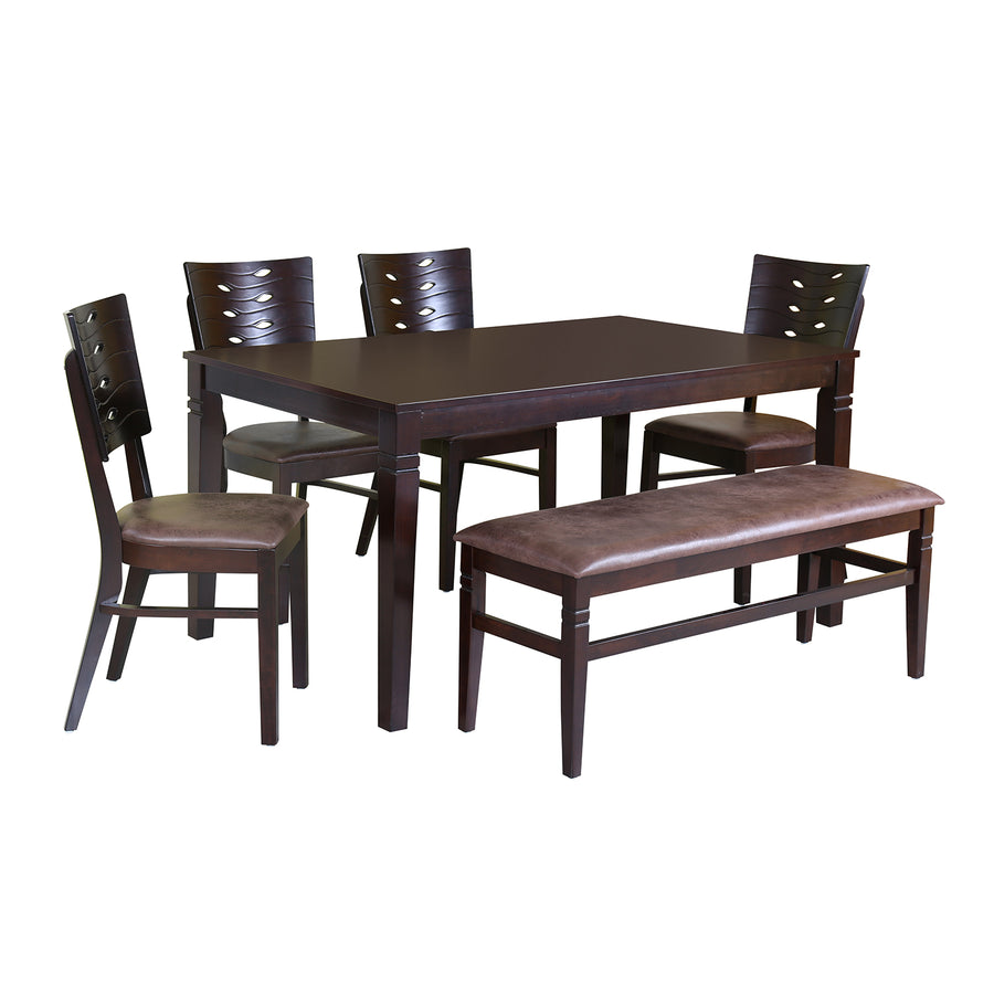 Fern Six Seater Dining Set With Bench (Erin Brown)