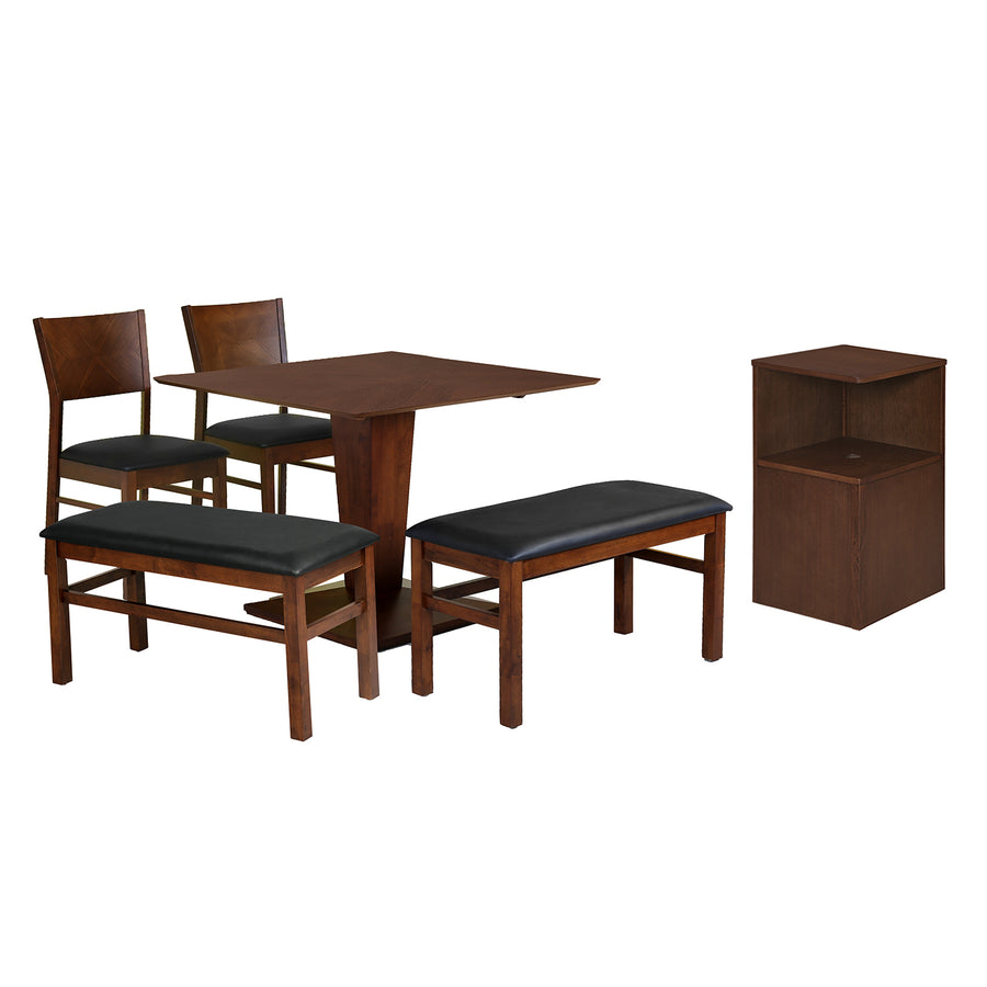 Glaze Six Seater Dining Set With Bench (Walnut)