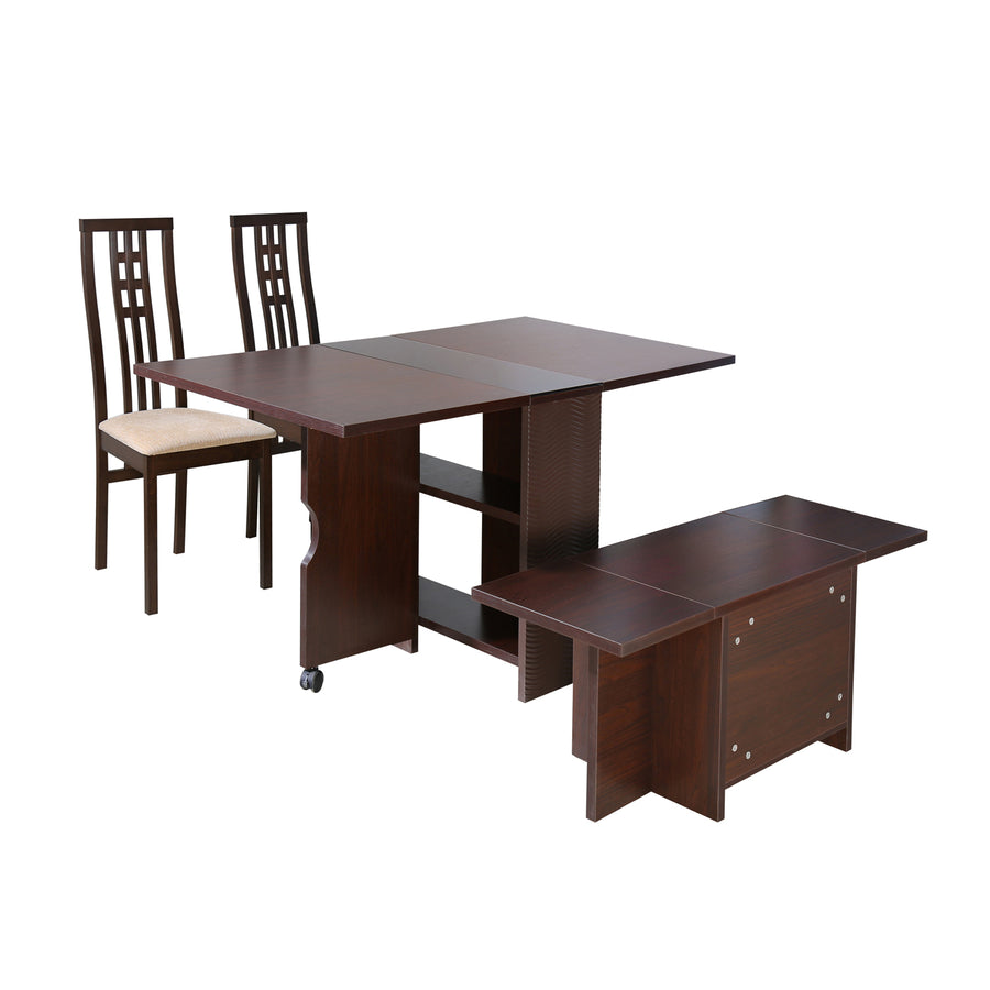Gypsy Four Seater Dining Set With Bench (Dark Walnut)