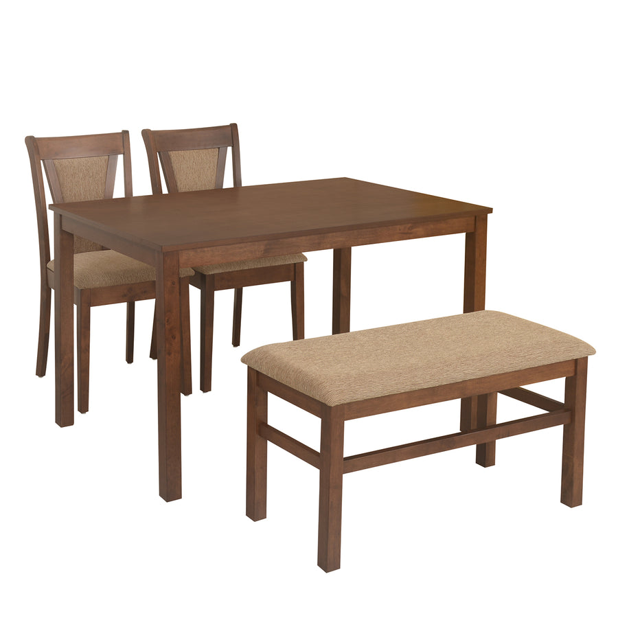 Jewel Four Seater Dining Set With Bench (Walnut)