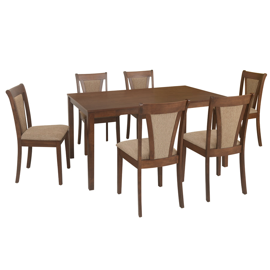 Jewel Six Seater Dining Set (Walnut)
