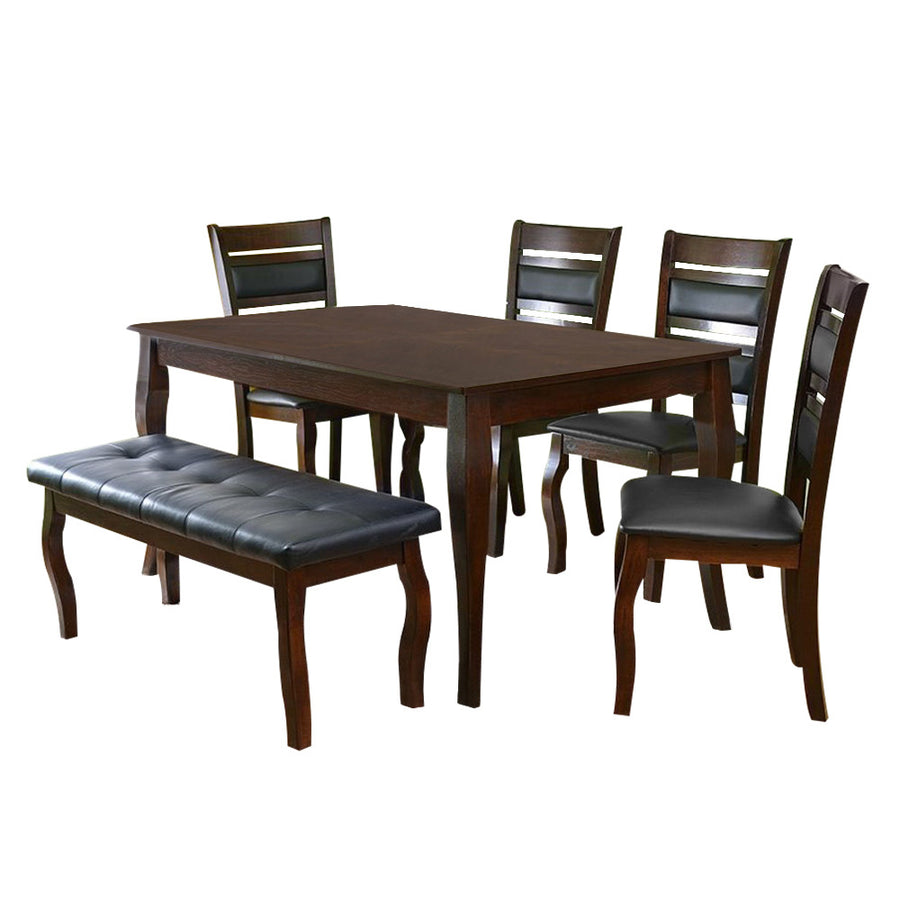 Larissa Six Seater Dining Set With Bench (Coffee)