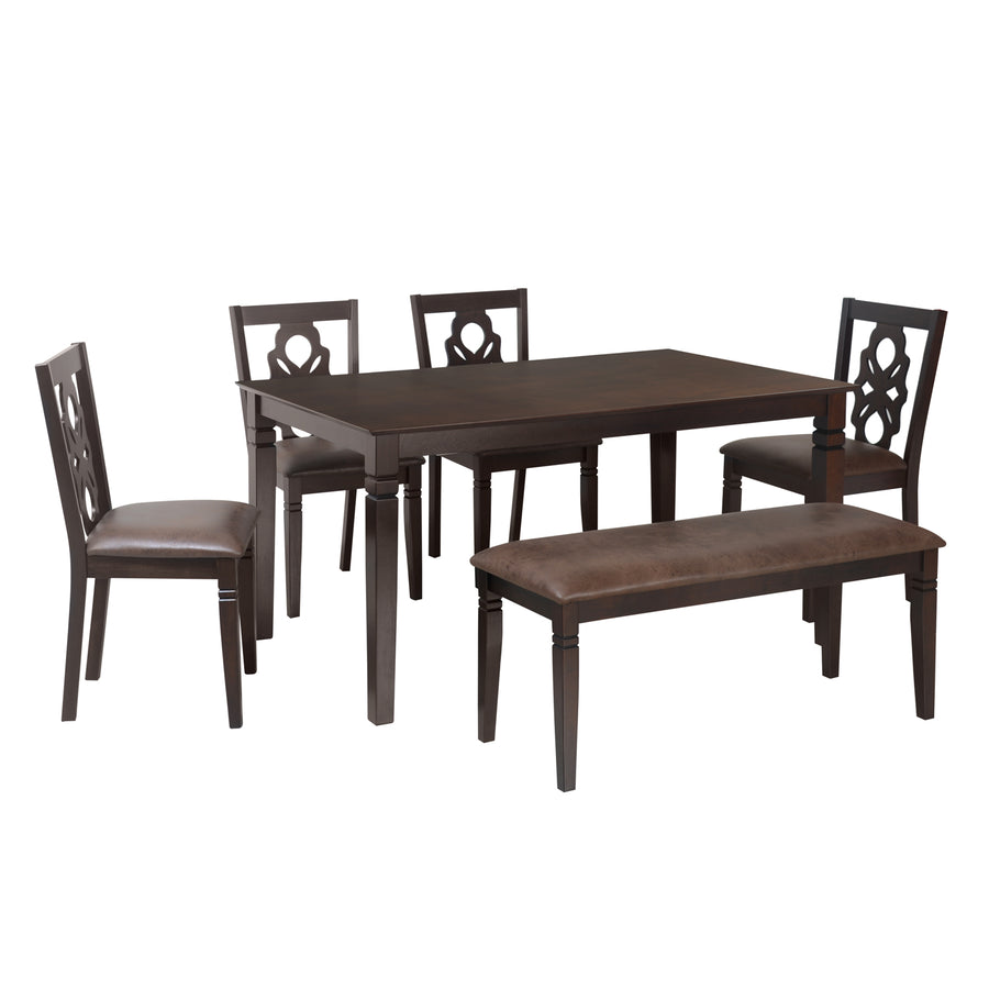 Luther Six Seater Dining Set With Bench (Antique Oak)
