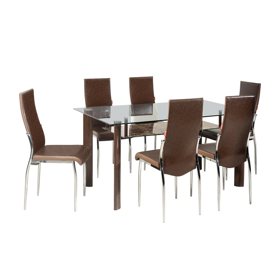 Soniya Six Seater Dining Set  (Merlot Brown)
