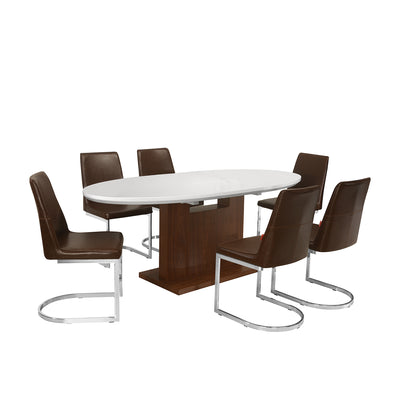 Walt 6 Seater Extendable Dining Set (White with Walnut)
