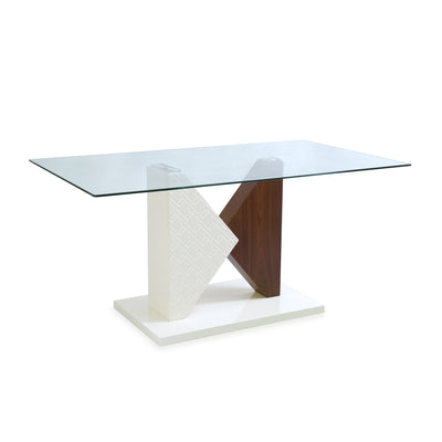 Duro Six Seater Dining Table (Walnut & Ivory)