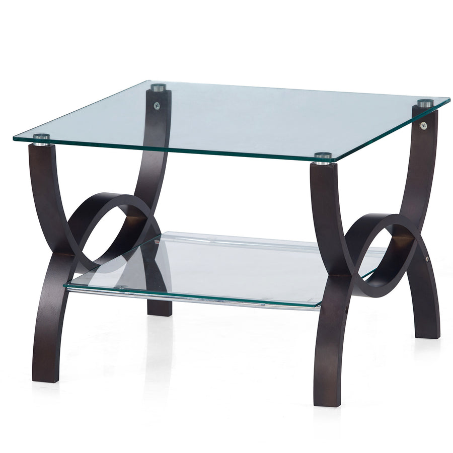 Spring Side Table With Glass Top (Wenge)