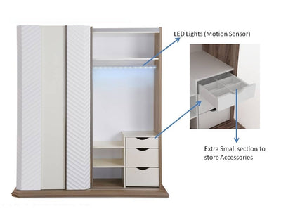 Elisa Sliding Wardrobe (Walnut)