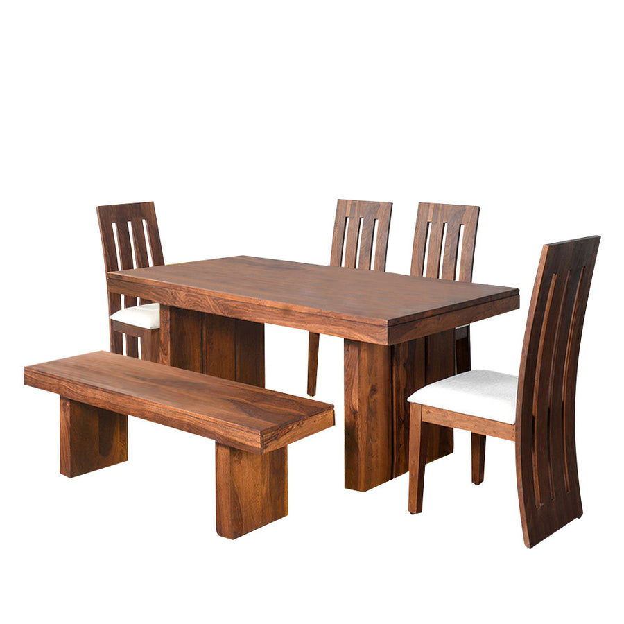 Delmonte Six Seater Dining Set With Bench (Walnut)