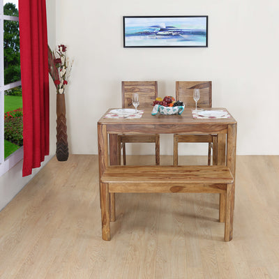Miracle Four Seater Dining Set With Bench (Walnut)