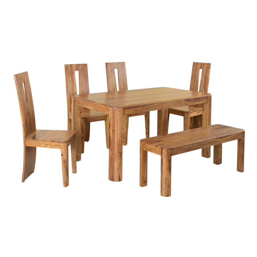 New Granada Six Seater Dining Set With Bench (Natural Walnut)