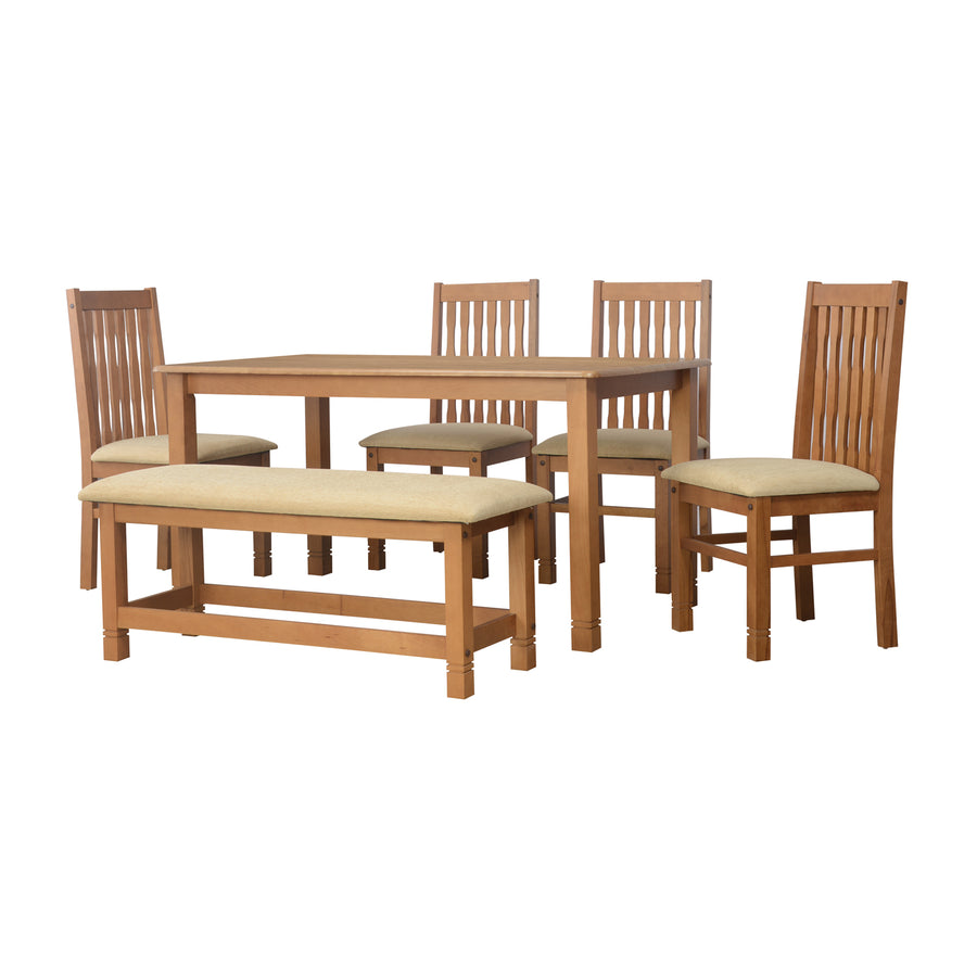 Roosey Six Seater Dining Set With Bench (Natural Walnut)