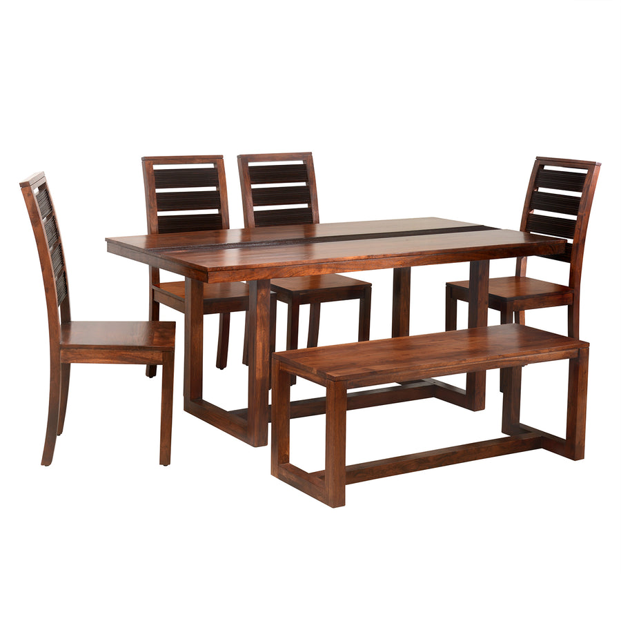 Tiara Six Seater Dining Set With Bench (Dark Honey Brown)