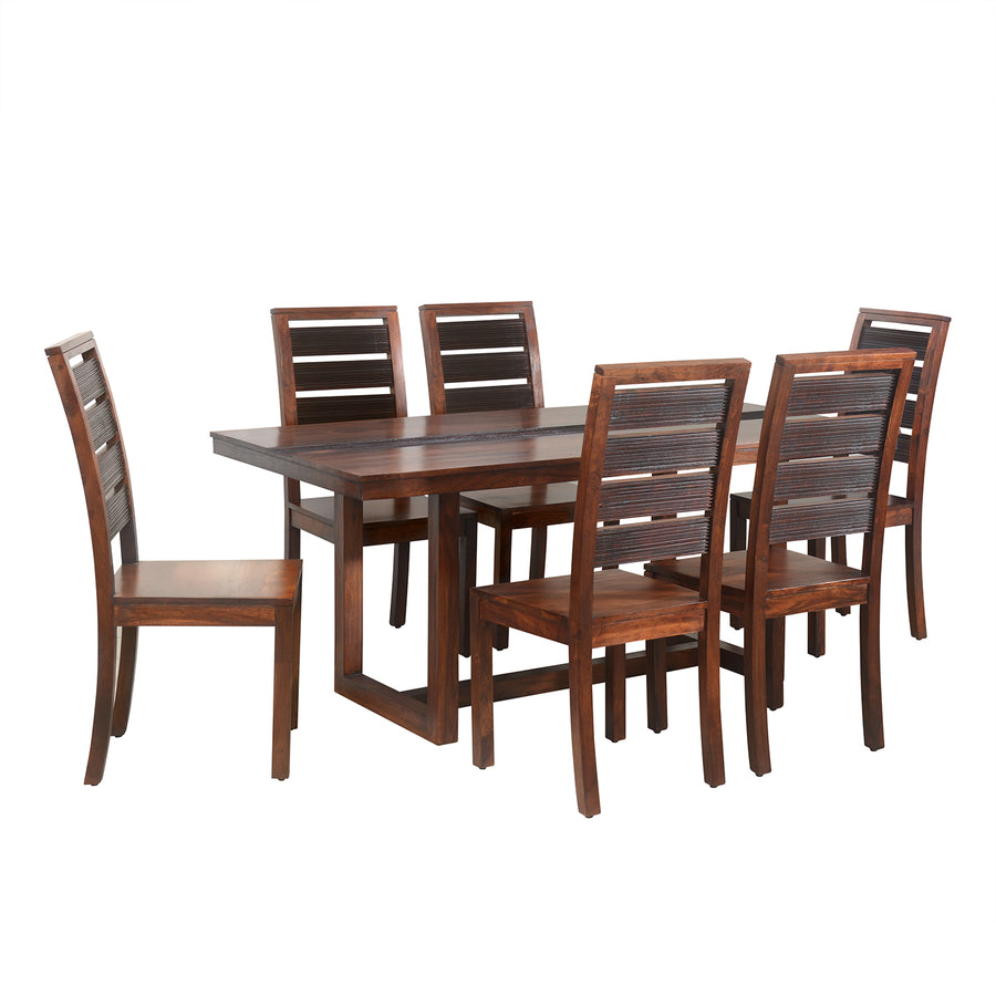Tiara Six Seater Dining Set (Dark Honey Brown)