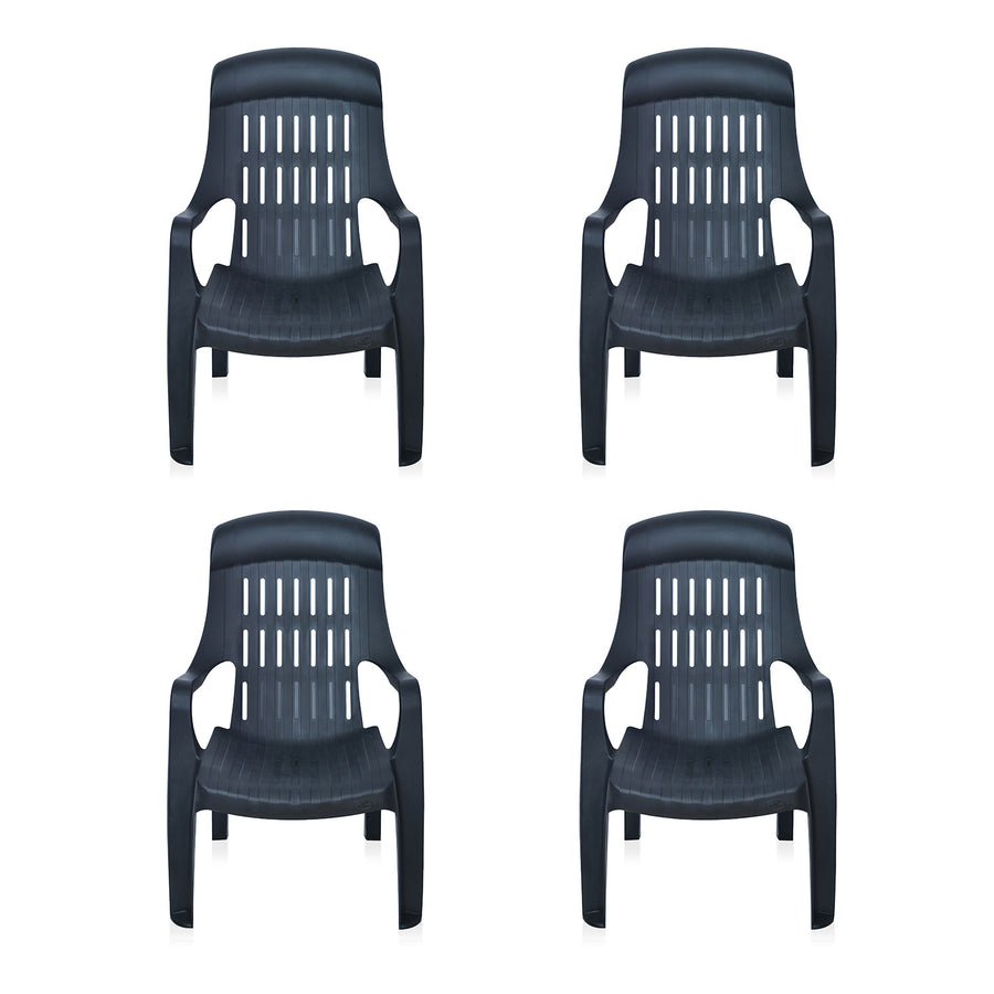 Nilkamal Weekender Garden Chair Set of 4 (Black)