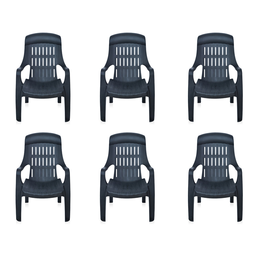 Nilkamal Weekender Garden Chair Set of 6 (Black)
