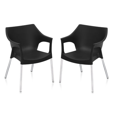 Nilkamal Novella 10 with Arm & without Cushion Chair Set of 2 (Black)