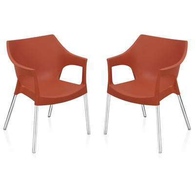 Nilkamal Novella 10 with Arm & without Cushion Chair Set of 2 (Rust)