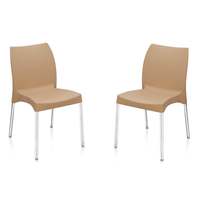 Nilkamal Novella 07 without Arm & Cushion Chair Set of 2 (Biscuit)