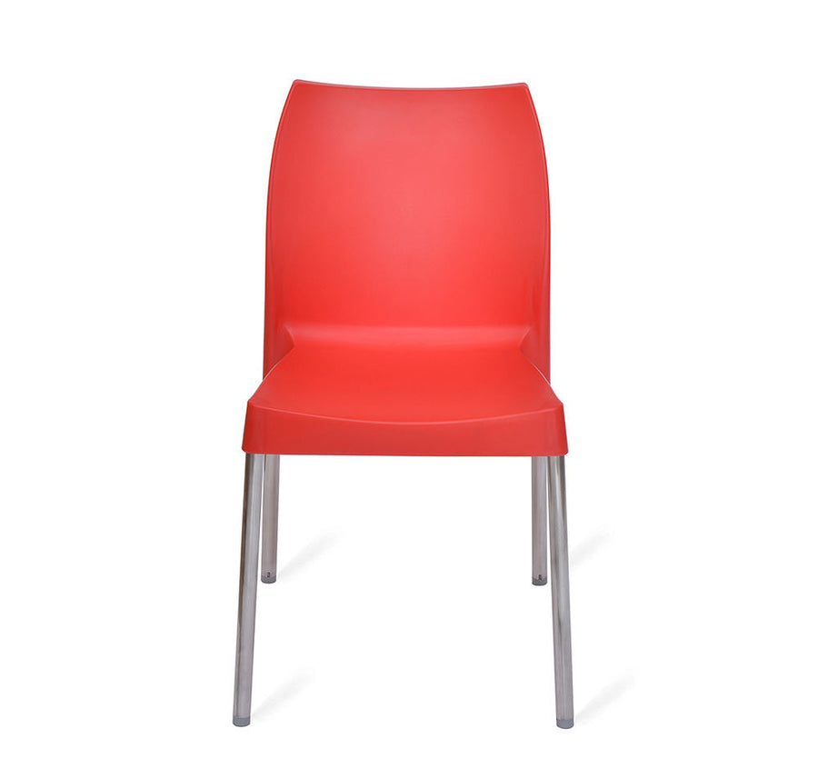 Nilkamal Novella 07 without Arm & Cushion Chair Set of 2 (Red)