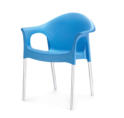 Nilkamal Novella 09 with Arm & without Cushion Chair Set of 2 (Blue)